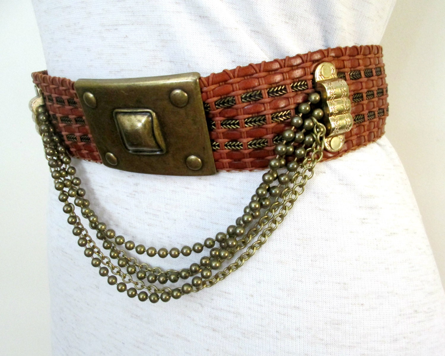woven brown leather chain belt vintage streets ahead