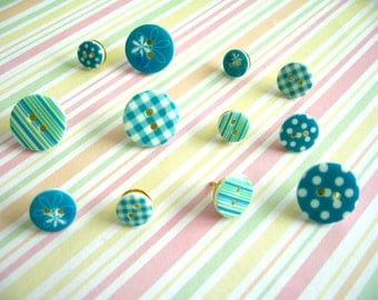Blue Color Style Button Push Thumbtack, Button Push Pins, Sewing Button Decoration, Pink Color Push Pins