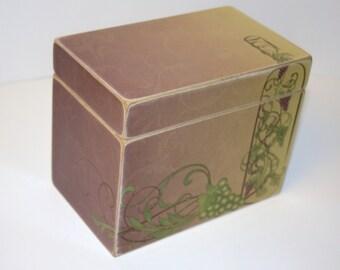Recipe Box, Wine Bottle Recipe Box, 4x6 Recipe Box, Grape Vine Recipe Box, Wine Theme Kitchen, Burgandy Swirl Box, Keepsake Box