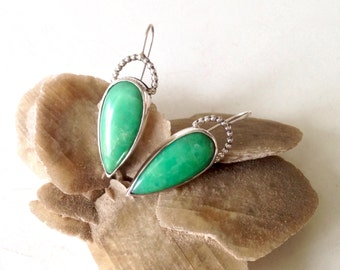 Chrysoprase  Earrings Silver unique handmade gift, ready to ship