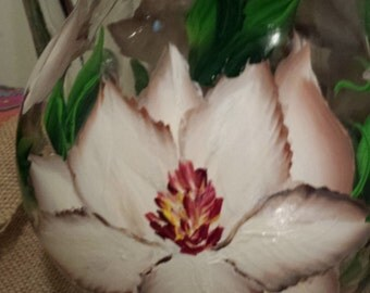 Hand painted magnolia glass pitcher