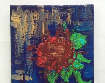Midnight Rose, Mini Acrylic Painting, Nursery Art