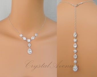 Backdrop Bridal Necklace, Backdrop Wedding Necklace,Crystal Bridal Jewelry, Emerald Cut, Cushion Cut, Julienne Crystal Drop Necklace