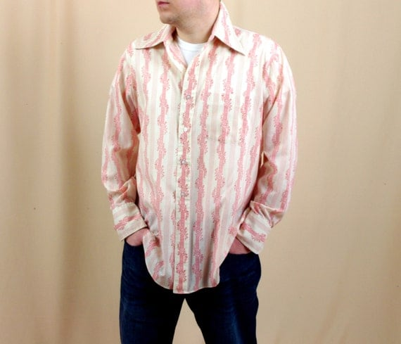 Mens 1960s red dress shirt red and white button down shirt for Red and white button down shirt
