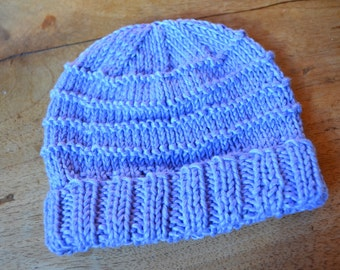 Blue knitted baby beanie with turned-up brim
