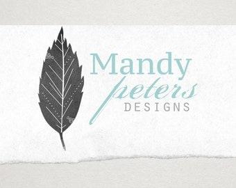 Premade Logo // Logo Design // Business Logo //  Photography Logo // Watercolor Logo // Tall Leaf Logo