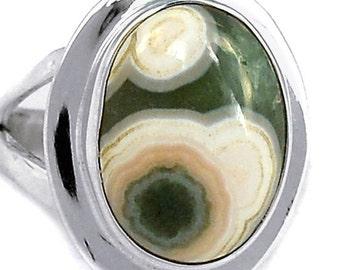 Ocean Jasper Sterling Silver Ring. Size 7.
