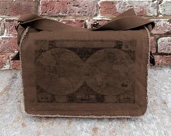 Messenger Bag - Old World Map - Screen Printed Cotton Canvas Messenger