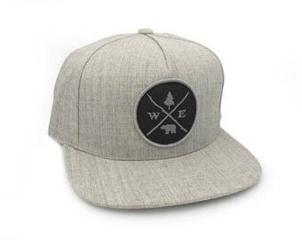 Men's Hat - Forest Compass Patch - Men's/Unisex 5 Panel Adjustable Hat with Patch - 2 Colors Available
