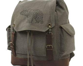 Cotton Canvas Drawstring Backpack - Bear & Triangles - Vintage Expedition Backpack