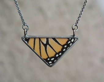 Classic Triangle Necklace - Monarch Butterfly Wing