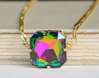 RARE Vintage Vitrail Medium Necklace,Large Cushion Cut Crystal Jewel Rainbow,Swarovski Rhinestone Pendant,Long Gold Necklace,Statement,
