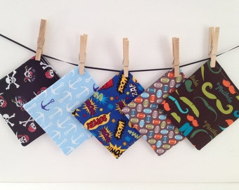 Reusable Snack Bags- Sandwich Size-Velcro-Pirates, Anchors, Footballs, Mustaches, and Zoom! Machine Washable!