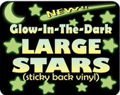 Glow in the Dark Stars LARGE Self adhesive Ceiling Stars for Nursery & Toddler Room / Night Light effect / Nursery Decor / Stocking Stuffer!