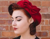 Red Hat, Red Beret Hat with Red Velvet Bow, Red Wool Beret Hat, Red Felt Beret Hat, Red French Beret Hat, Red Winter Hat, Red Womens Hat