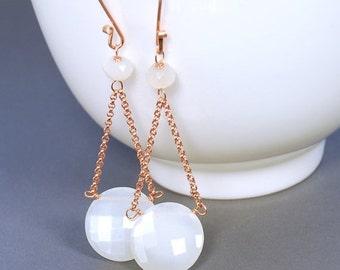 SALE Moonstone Dangle by Agusha. White Moonstone Rose Gold Filled Earrings. White Gemstone Earrings.