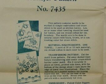 Vintage Embroidery Transfer Pattern, Alice Brooks  No.7435  Fruit Motifs, Unused