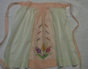 Pretty Vintage Company Apron, Sheer Cotton, Lovely Embroidery