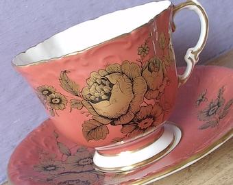 Vintage 1960's Mid Century Teacup and Saucer, Aynsley tea cup, Orange tea cup, Gold rose tea cup, English tea cup, Bone china teacup