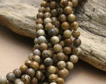 Picture Jasper - 8mm Round - 15 inch strand of 48 beads