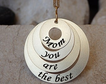 Custom Gold Mother's Necklace, 4 Stack Necklace, 14K Gold Mother Necklace, Mom you are the best, 4 Disc Necklace, Gold Stamped Necklace