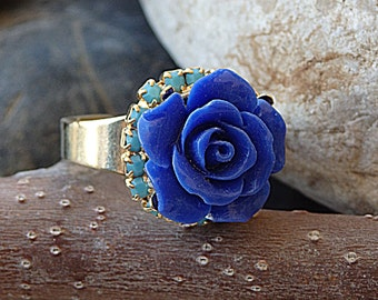 Coral Rose Flower Ring. Cobalt blue ring, Blue rose ring adjustable, Something blue ring gift for bride. Turquoise ring.Cameo flower ring
