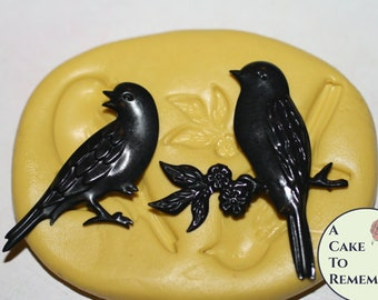 Two Birds Silicone Mold for cake decorating cupcake decorating, chocolate, hard candy, polymer clay, resin, silicone mould M1032