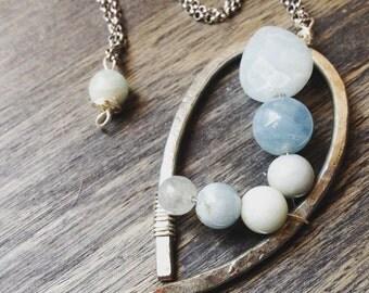 Minimal necklace, aquamarine pendant necklace, gemstone necklace, boho necklace, hammered necklace