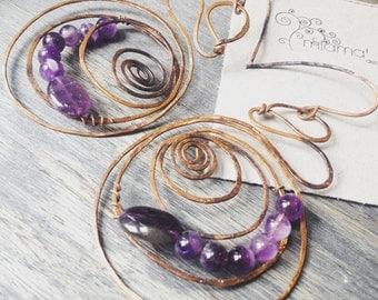 Hoop earrings, wire wrapped earrings, copper earrings, rustic earrings, Amethyst earrings, gemstone earrings, amethyst jewelry