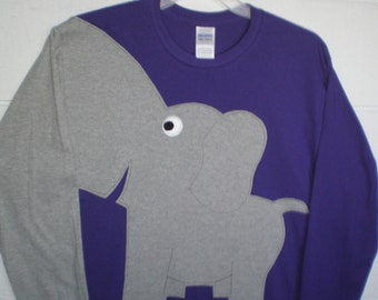 Long sleeve elephant t-shirt with a sleeve trunk, grape purple adult size large. Elephant shirt.