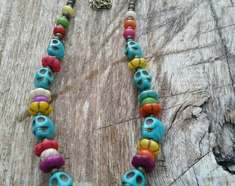 Day of the Dead Long Necklace with Turquoise Magnesite Skulls and other Colorful Beads on Brass Chain by AfterWork