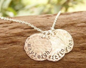 Mother Necklace with Three Kids Names Distressed Sterling Silver Discs
