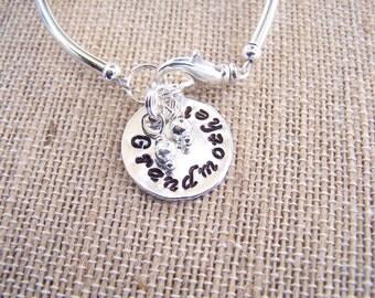 Mothers silver plated Birthstone Bracelet, Mothers charm bracelet (B102)