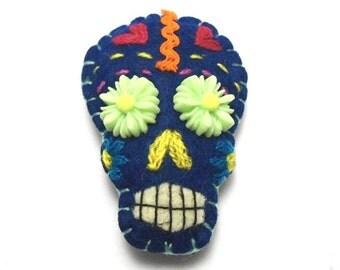 royal blue sugar skull pin