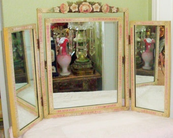 Vintage Pink Barbola ROSES MIRROR Ribbons 3-Panel Dresser Vanity MIRROR French Cottage Chic