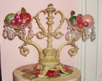 Vtg French Cottage Tole Table Stand Centerpiece Cottage Chic Dripping Crystals Home Decor