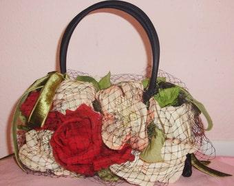Antique Millinery ROSES Net New Handbag, Custom Designer,  Pink & Red, Black Satin, Vintage Trim, Green Velvet Ribbon, Millinery, Purse