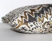 Lumbar Pillow Cover Black Pillow Gold Pillow Chenille Southwest Ethnic Decor Throw Pillow Cover Floor Cushion 12x24 12x21 12x18 12x16 10x20