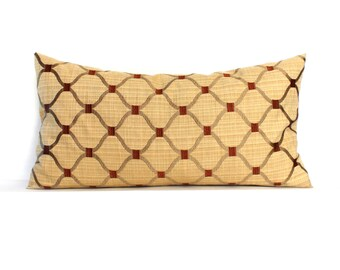 Lumbar Pillow Cover Gold Pillow Embroidered Trellis Decorative Pillow Oblong Throw Pillow Cover 12x24 12x21 12x18 12x16 10x20