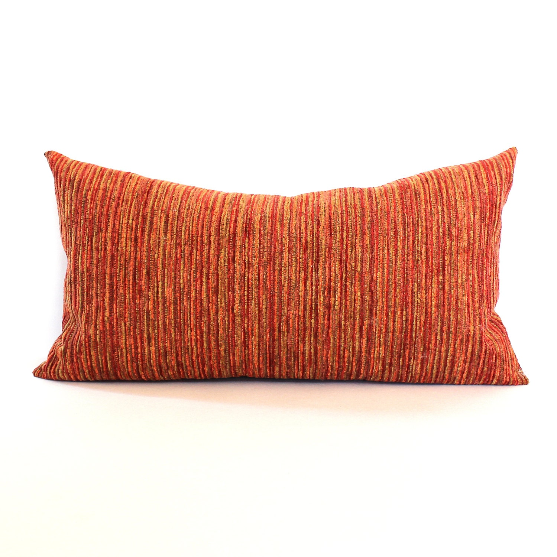 Lumbar Pillow Cover Rust Orange Green Chenille Stripe