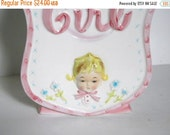ON SALE Vintage Baby Girl Vase - Relpo Girl - Retro Baby Planter - Pink Baby Girl Nursery
