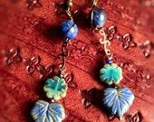 Earrings, Leaf, indigo, Lapis Lazuri, Indigo,