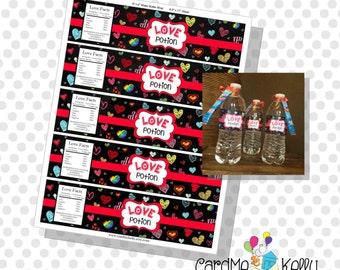 INSTANT DOWNLOAD Printable Valentine Love Potion Water Bottle Labels- Digital File