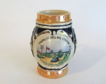 Vintage Ceramic Magnetic Hill, Canada Souvenir Mini Stein- Western Germany
