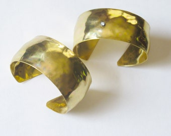Modern Hammered Metal Wide Cuff Bracelet - with or without single sparkling stone