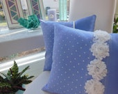 Periwinkle Pillow - Purple Flower Pillow -  Purple and White Pillow - Polka Dot Pillow - White Flower Trim Pillow - Cottage Chic Pillow