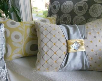 Yellow Lumbar Pillow Grey Pillow - Yellow Flowers and Grey Elegant Sash Diamond Design Pillow - Decorative Bedroom Decor - Insert Included