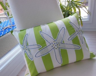 Blue Starfish Jeweled Designer Lumbar Pillow - Lime Green Stripe Pillow - Blue and Lime Green Starfish - Seaside Seashell - 12 x 16 inch