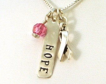 Breast Cancer Gifts - Hope Necklace - Breast Cancer Awareness Jewelry