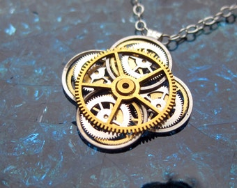 "Clockwork Flower Necklace ""Allamand"" Elegant Recycled Watch Parts Gear Pendant Mechanical Plant Assemblage Balance Wheel Petals Christmas"